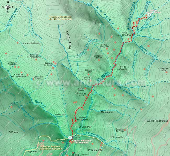 Mapa de senderismo por la Alta Montaña, desde la Central Eléctrica del Poqueira al Cortijo de las Tomas