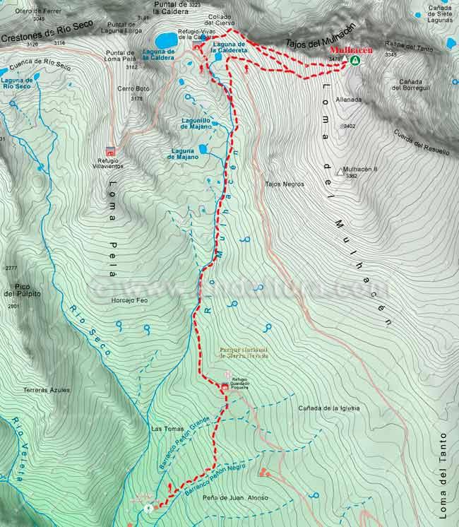 Mapa de Senderismo por la Alta Montaña desde el Cortijo de las Tomas al Mulhacén