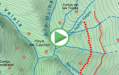 Animación de la ruta para coronar el Mulhacén desde Capileira, por las Acequias