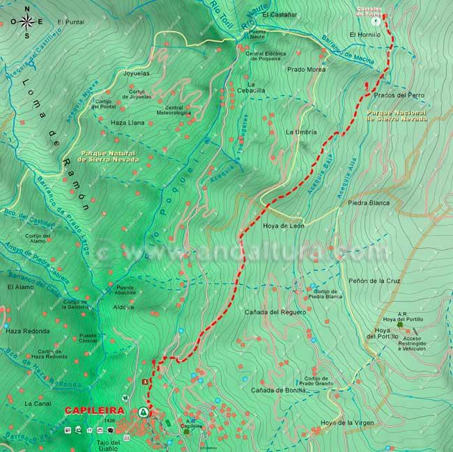 Mapa de Senderismo por la Alta Montaña desde Capileira a los Corrales de Pitres, hacia el Mulhacén