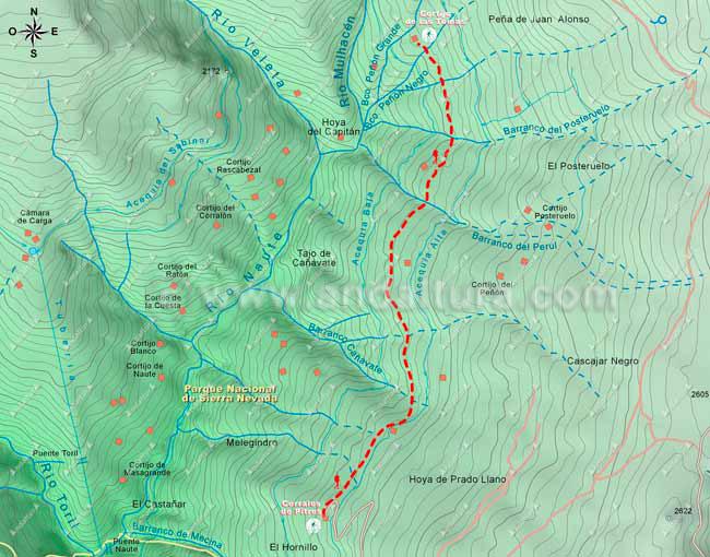Mapa de Senderismo por la Alta Montaña desde los Corrales de Pitres al Cortijo de las Tomas, hacia el Mulhacén