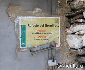 Cartel de aviso de Refugio Cerrado, Refugio del Hornillo