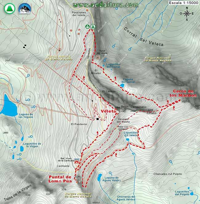 Mapa a escala 1:15000 de la Ruta Circular del Veleta