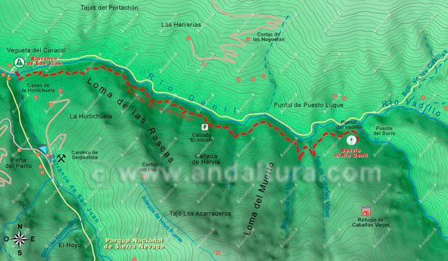 Mapa de la ruta de senderismo por la Vereda de la Estrella, hacia el Mulhacén