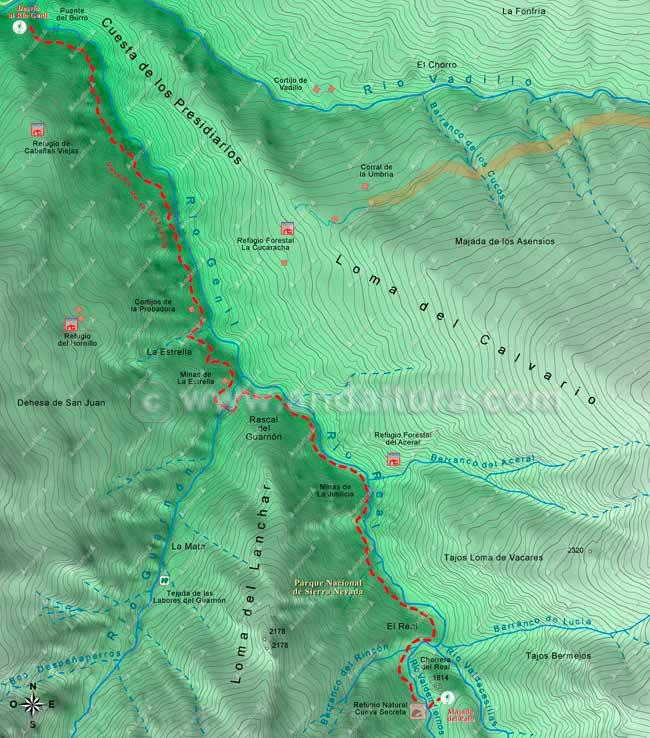 Mapa de la ruta de senderismo por la Vereda de la Estrella hasta la Majada del Palo, hacia el Mulhacén