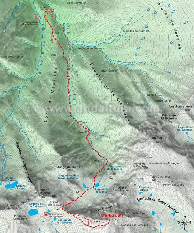 Mapa de la ruta de Senderismo desde Güéjar-Sierra al Mulhacén, desde la Majada del Palo