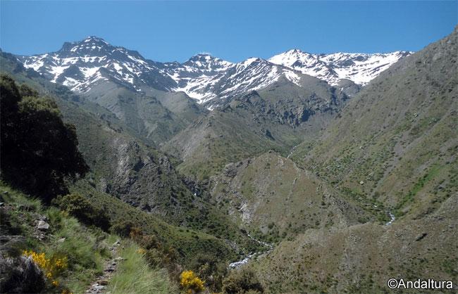 Majada del Palo, franqueada por la Alcazaba y el Mulhacén