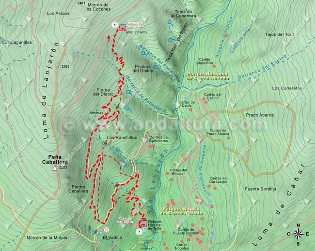 Mapa del segundo tramo de la ruta de Lanjarón hasta el Cerro del Caballo por el río Lanjarón