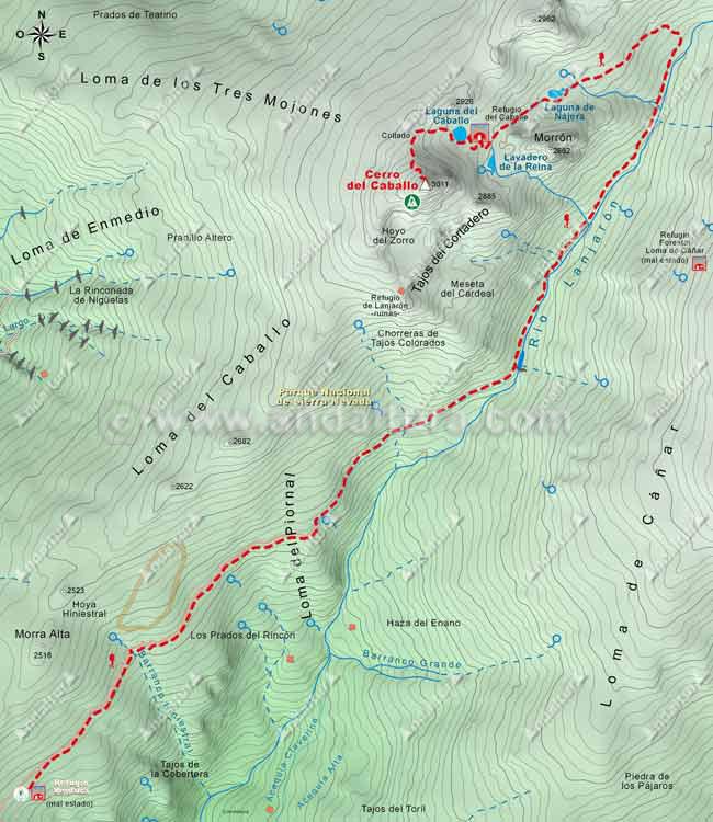 Mapa de Alta Montaña desde el Refugio Ventura hasta el Cerro del Caballo por el río Lanjarón