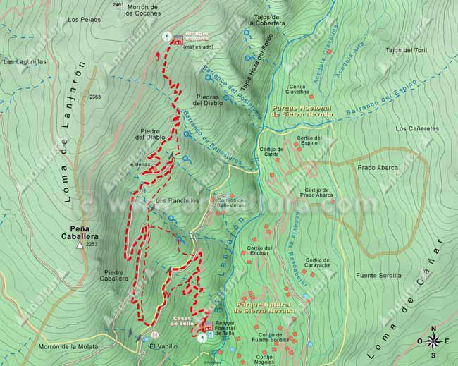 Mapa del segundo tramo de la ruta de senderismo desde Lanjarón al Cerro del Caballo