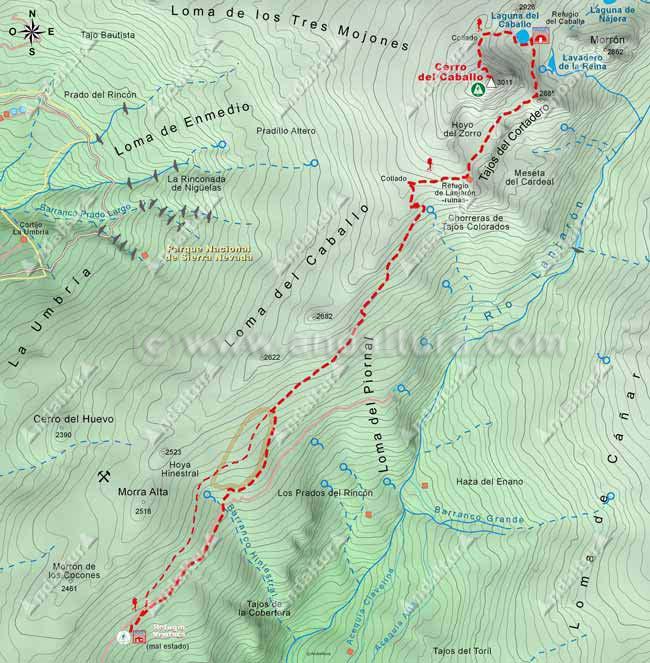 Mapa de Senderismo desde el Refugio Ventura hata el Cerro del Caballo,pasando por el Hoyo del Zorro y la Laguna y Refugio del Caballo