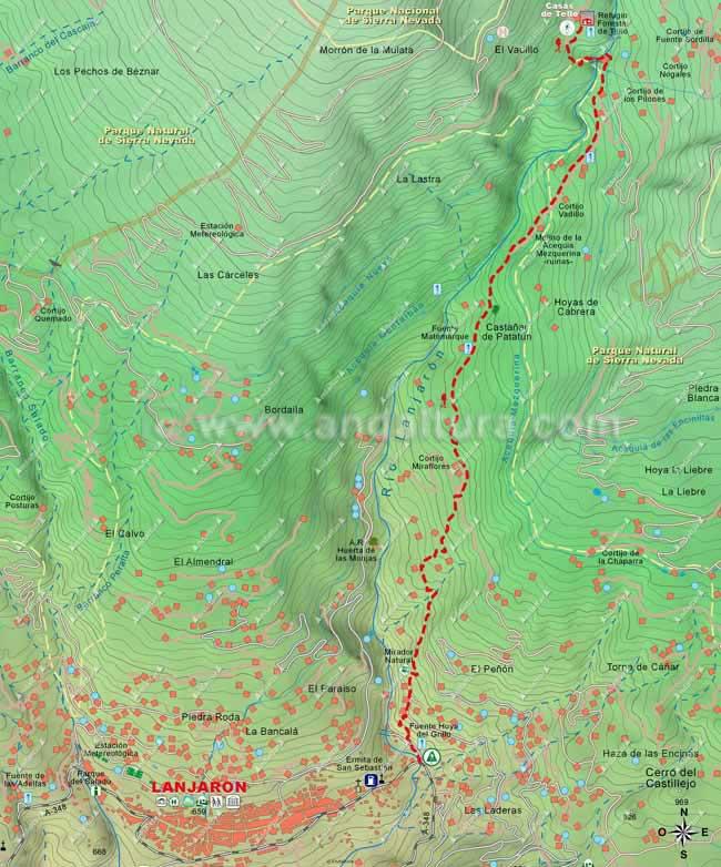 Mapa del primer tramo de la ruta de Lanjarón hasta el Cerro del Caballo