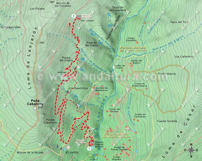 Mapa del segundo tramo de la ruta de senderismo desde Lanjarón al Cerro del Caballo por la Loma del Caballo