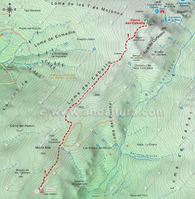 Mapa desde el Refugio Ventura al Cerro del Caballo por la Loma de Lanjarón