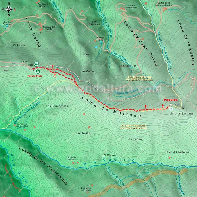 Mapa desde el final de la pista de el Corralejo hasta el Vertice Geodésico Papeles, hacia los lavaderos