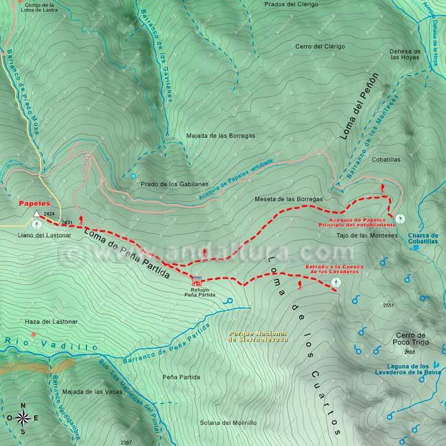 Mapa desde el Vértice Geodésico Papeles hasta la entrada a la Cuenca de los Lavaderos de la Reina