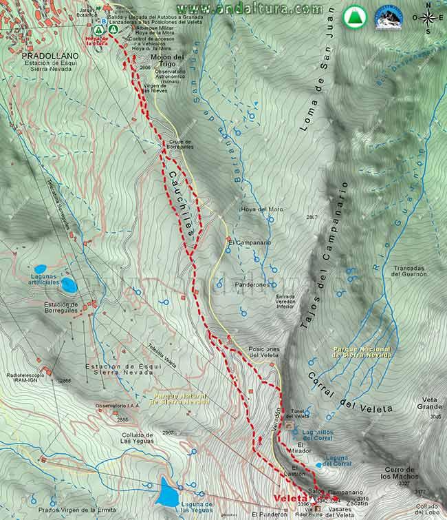 Mapa de la ruta de senderismo y escalada desde la Hoya de la Mora al Veleta, por la Vía Fidel Fierro