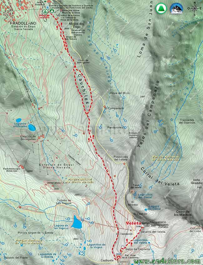 Mapa de Senderismo desde la Hoya de la Mora al Collado de la Carihuela y al Veleta