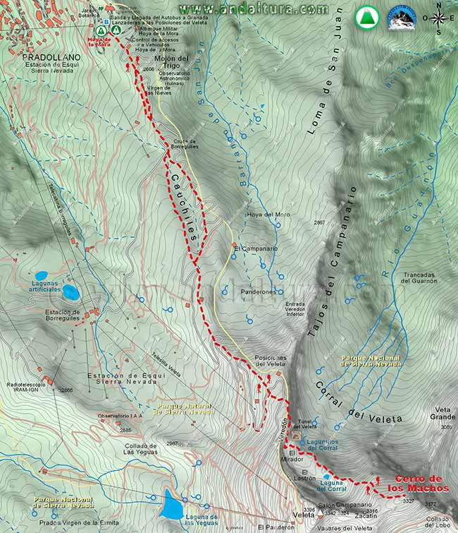 Mapa del sendero desde la Hoya de la Mora al Cerro de los Machos