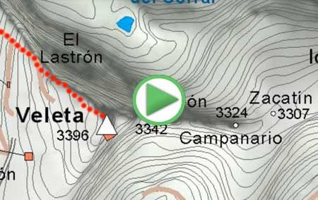 Animación de la ruta desde la Hoya de la Mora al Veleta