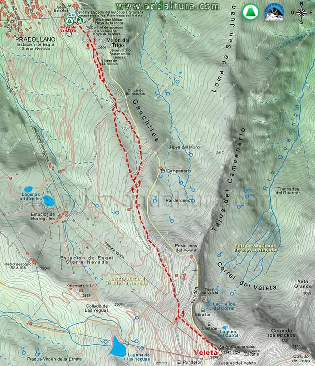 Mapa de la ruta de Senderismo desde la Hoya de la Mora al Veleta