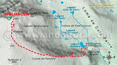 Mapa de la ruta por la Alta Montaña entre la Cañada de Siete Lagunas y el Mulhacén