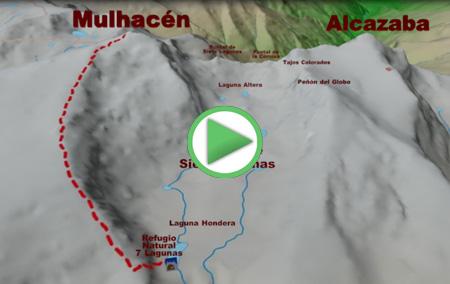 Animación de la ruta desde la Cañada de Siete Lagunas al Mulhacén