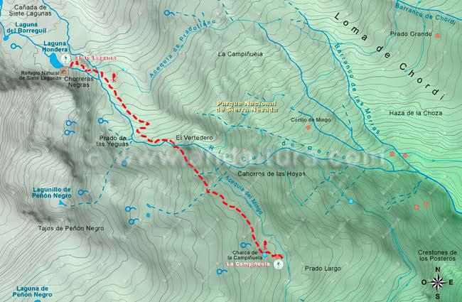 Mapa del Sendero desde La Campiñuela a la Cañada de 7 Lagunas