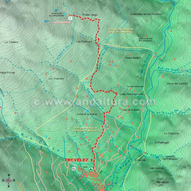 Mapa del Sendero desde Trevélez a La Campiñuela
