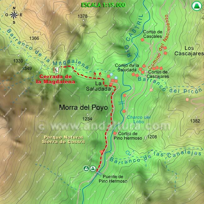 Mapa de la Cerrada de la Magdalena, escala 1:15000