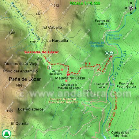 Mapa de la ruta de senderismo desde el Camino del Nacimiento a la Cerrada de Lézar, escala 1:15000
