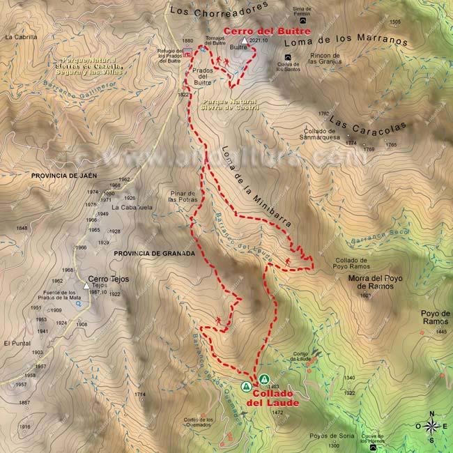 Mapa del Collado del Laude al Cerro del Buitre