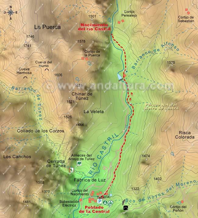 Mapa ruta senderismo hacia el Nacimiento del río Castril