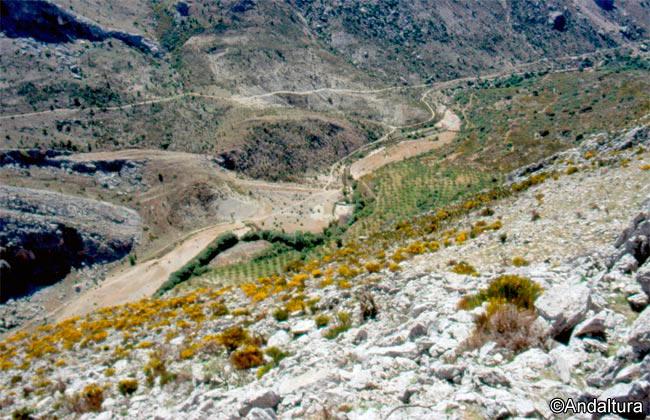 Cruce de Veredas en el Valle del río Castril, debajo la presa y el mirador