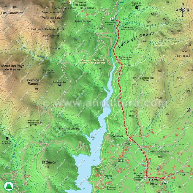 Mapa ruta BTT por el Camino del Nacimiento hasta el Puente de Lezar