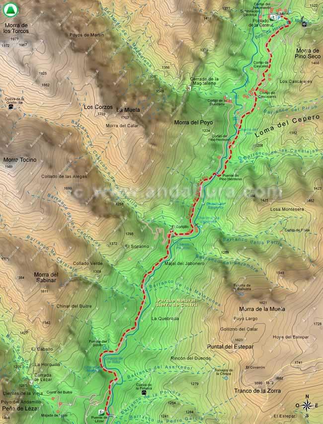 Mapa ruta BTT desde el Puente de Lézar hasta el Poblado de la Central y al Cortijo del Nacimiento