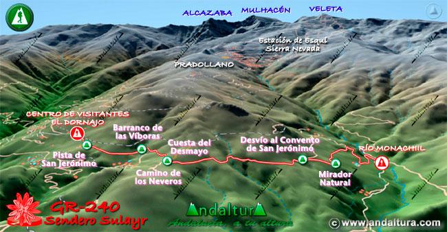 Mapa en relieve sobre el recorrido del tramo 1 del Gran Recorrido GR-240