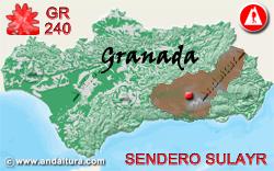 Mapa de Andalucía con la situación del tramo 1 del Sendero GR240 Sulayr