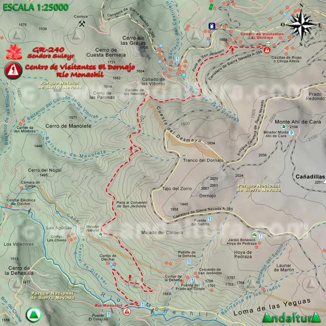 Mapa del tramo desde el Centro de Visitantes El Dornajo hasta el río Monachil, del GR240 Sendero Sulayr