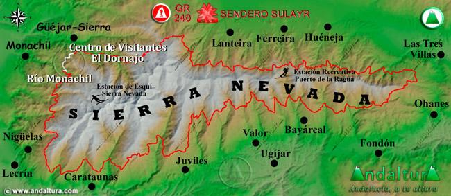 Mapa de Sierra Nevada donde se indica el tramo 1 entre el Centro de Visitantes El Dornajo y el rio Monachil
