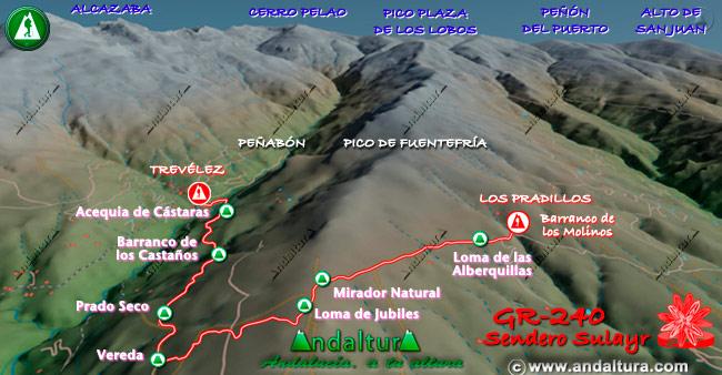 Mapa en relieve sobre el recorrido del tramo 12 del Gran Recorrido GR-240