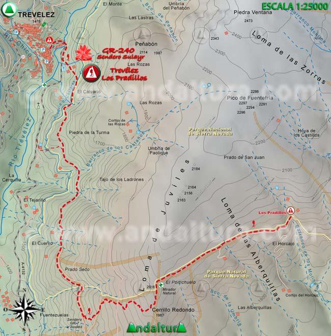 Mapa del tramo 12 del Sendero Sulayr, GR 240, entre Trevélez y Los Pradillos