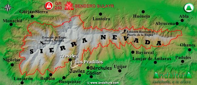 Mapa de Sierra Nevada donde se indica el tramo 12 entre Trevélez y Los Pradillos