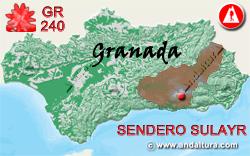 Mapa de Andalucía con la situación del tramo 15 del Sendero GR240 Sulayr