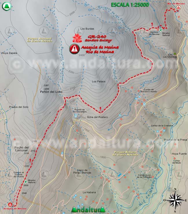 Mapa del tramo 15 del Sendero Sulayr, GR 240, entre la Acequia de Mecina y el río del mismo nombre