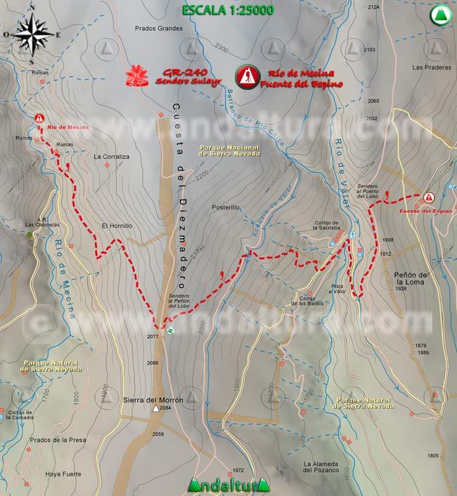 Mapa del tramo 16 del Sendero Sulayr, GR 240, entre el Río de Mecina a la Fuente del Espino