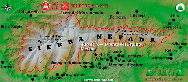 Mapa de Sierra Nevada donde se indica el tramo 16 entre el Río de Mecina y la Fuente del Espino