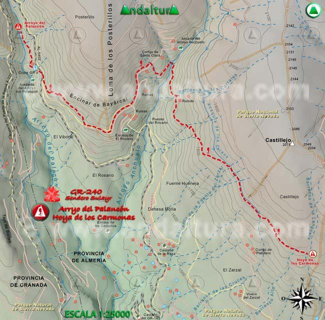 Mapa del tramo 19 del Sendero Sulayr, GR 240, entre el Arroyo del Palancón y la Hoya de los Carmonas