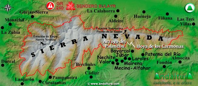 Mapa de Sierra Nevada donde se indica el tramo 19 entre el Arroyo del Palancón y la Hoya de los Carmonas