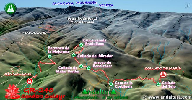 Mapa en relieve sobre el recorrido del tramo 2 del Gran Recorrido GR-240